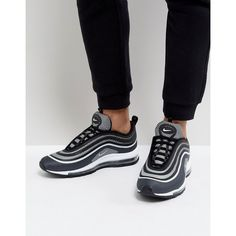 Nike Air Max 97 Ultra '17 Trainers In Black 918356-001 (3.040.585 IDR) ❤ liked on Polyvore featuring men's fashion, men's shoes, men's sneakers, black, mens lace up shoes, mens retro shoes, mens sports shoes, nike mens shoes and mens black sneakers