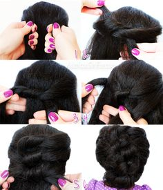 Easy Knotted Updo Hairstyle.