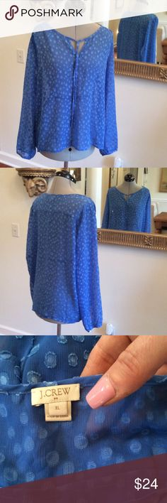 J. Crew shear Pretty soft blue J. Crew shear blouse, size XL and ready to pair with a tank for office attire or jeans J. Crew Tops Blouses