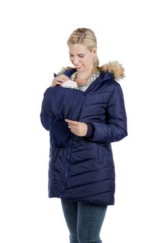 Winter maternity coat in a quilted chevron puffer style with detachable faux fur hood lining. Available in black, blue and grey and in all sizes. Maternity Winter Coat, Maternity Jacket, Maternity Coats, Fur Trim, Dress Collection, Fashion Brands, Hooded Jacket, Winter Jackets, Stylish