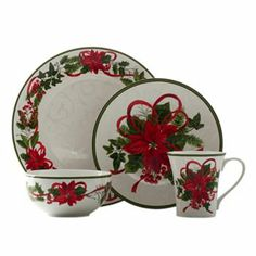 222 Fifth Holiday Winter Harmony 16-Pc. Set, Service for 4 ...