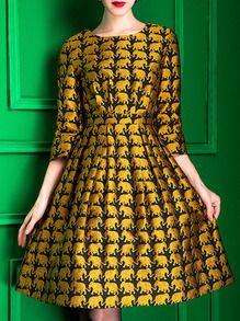 Yellow Elephant Jacquard Knee Length A-Line Dress