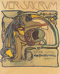 Poster for the first major exhibition of the Vienna Secession, designed by Koloman Moser, 1897. Watercolour and gouache, colour pencil and metallic paint on canvas, 78.5 x 60.5 cm