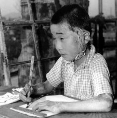 Student in Hiroshima schoolroom, 1946.