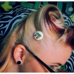 Cherry Button Hair Pins by Sins 'n Needles