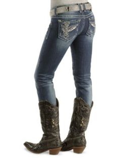 Miss Me Floating Wing skinny jeans with adorable cowgirl boots.  Must!