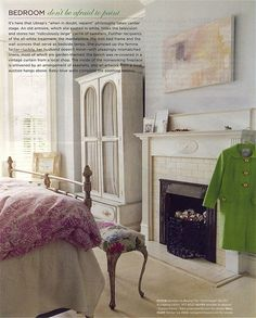 Domino magazine bedroom. I love the use of soft colors Tv Hutch, Pale Blue Walls, Shabby Chic Apartment, Bedroom Fireplace, Fireplace Ideas, Pretty Bedroom, Elegant Homes, Beautiful Bedrooms, Beautiful Interiors