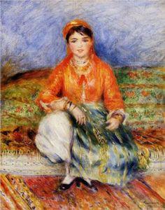 Algérie - Peintre Français Pierre-AugusteRenoir(1841 -1919), huile sur toile , Titre : jeune fille Algérienne.