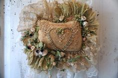 Lace accent pillow millinery flowers tattered tea stained
