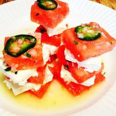 Watermelon and feta salad with jalapeño vinaigrette.