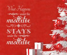 Holiday Vinyl Wall Lettering Under the Mistletoe Chalkboard Style Christmas Decoration Decal