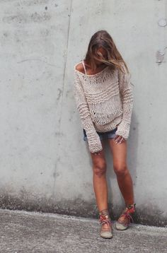 Pink Sweater / Pinkish cream (Milk pink)  oversized grunge loose knit sweater LTd Edition in this shade
