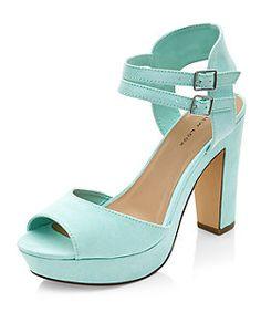 Chaussures à talons vert menthe avec deux brides de cheville | New Look