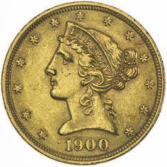 5 DOLLARS 1900 USA