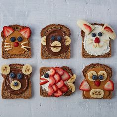 Toasts with animal faces are almost too adorable to eat… almost. Perfect breakfast or lunches for kids for back to school!