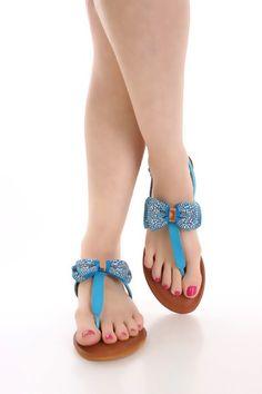 Blue Faux Leather Bow Tie Sandals