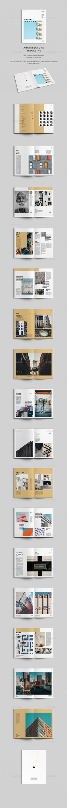 Architecture Magazine by Viktoribat Architecture Magazine is a 34 page InDesign brochure template designed with a unique, minimal, clean and modern layout. Architecture Design, Architecture Magazines, Architecture Portfolio, Web Design, Print Design, Graphic Design, Creative Design, Print Print, Flyer Design