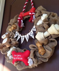i love my dog burlap wreath  puppy party by BellaVellaDesigns, $80.00