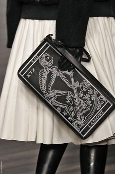 KTZ SS13 Clutch & White Pleated Leather Skirt