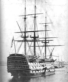 Lord Horatio Nelson's ship, the HMS Victory. Photographed in 1884