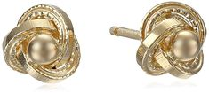 14k Yellow Gold Mini Love Knot Ball Stud Earrings >>> Continue to the product at the image link. (This is an affiliate link) #JewelryDesign