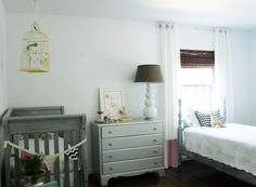 - Southern Exposure - Nursery Reveal    dresser painted silver    crib- originally black- painted gray and then whitewashed