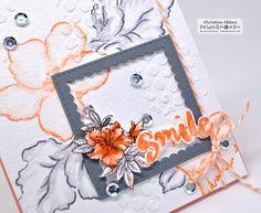 Big Scripts stamp set by Power Poppy, card design by Christine Okken. Hibiscus Bouquet, Altenew, Cardmaking, Poppies, Markers, Stamp, Scripts, Ranger, Floral