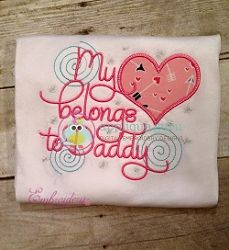 My Heart Belongs To Daddy Applique - 3 Sizes! | What's New | Machine Embroidery Designs | SWAKembroidery.com Applique Guru
