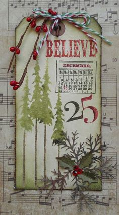I'm seeing a sheet music trend emerging. Green spin on another tag inspired by Tim Holtz.
