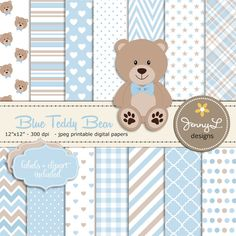 Blue Teddy Bear Digital papers Teddy Bear clipart Baby Shower Baptism Nursery Scrapbooking Papers Birthday Baby Boy Blue and Brown JennyLDesignsShop 5.00 USD