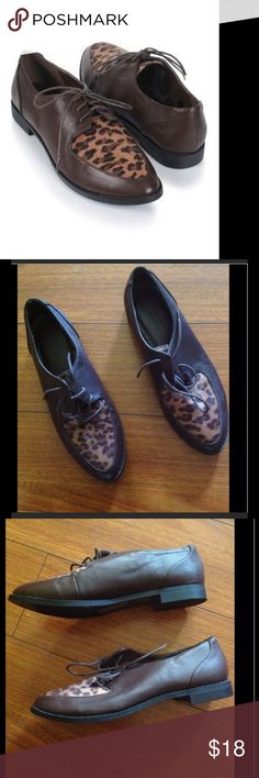 F21 brown & leopard pointed toe oxfords shoes sz 8 New brown oxfords with a small heel Forever 21 Shoes Flats & Loafers