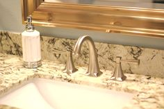 Master bathroom, sink, faucet, soap dispenser, mirror, granite, brushed nickel, undermount sink, contemporary, traditional