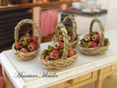 Dollhouse Miniature Apples In The Wicker Basket by Minicler