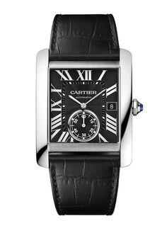 Cartier montre Tank MC noir http://www.vogue.fr/vogue-hommes/montres/diaporama/horlogerie-montres-homme-all-black-cadran-noir/20709/image/1105553#!cartier-montre-tank-mc-noir