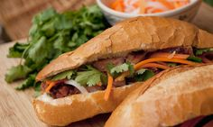 BANH MI - the world's best street food -  Vietnamese snack consisting of baguette, meat, pickled vegetable and chilli