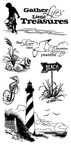 Inkadinkado Down by the Seaside Clear Stamps - budget free pattern Silhouette Images, Silhouette Projects, Vinyl Crafts, Vinyl Projects, Circuit Projects, Etiquette Vintage, Beach Crafts, Copics, Amazon Art