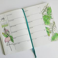 Now this is a drastic change from the previous two week spread. Kind of in the mood for the summer in paradise. I need to step up my flamingo game #bulletjournal #bujo #bulletjournalpolska #bulletjournaljunkies #july #weeklyspread #paradise #flamingo