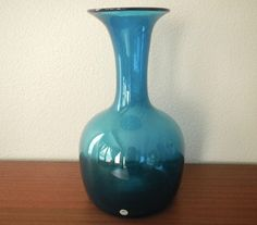 Rare Monumental Holmegaard Glass Havanna Vase in Teal, Per Lutken Danish Modern