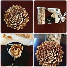Thanks Pinterest for the Pistachio flower idea. You just need Pistachio shells, glue gun, a round coaster. Enjoy ^.^