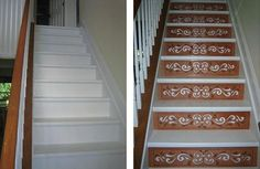 One Step Beyond: Decorative Stair Risers - design stairs, stair design, decorating stairs, wood stairs