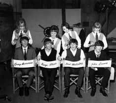 The Beatles, George Harrison, Ringo Starr, Paul McCartney and John Lennon, have their hair combed by stylists on the set of their first movie production, 'A Hard Day's Night,' at Twickenham Film Studios in Middlesex, outside London, England, on March 12, 1964.  The hair stylists, who have parts in the film, are, from left, Patti Boyd, 19, Tina Williams, 17, Pru Bury, 22, and Susan Whitman, 17.  (AP Photo) via @AOL_Lifestyle Read more…