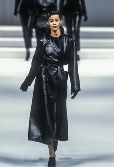 Krizia Ready-To-Wear Fall/Winter 1995 Long Leather Coat, Leather Skirt, Leather Jacket, Winter Coat, Fall Winter, Dior, Black Is Beautiful, Leather Fashion, Ready To Wear