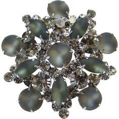 Juliana Frosted Cabochon Black Diamond Rhinestone Pin Brooch DeLizza & Elster