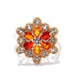 Fire Opal Ring with White Topaz in Gold Plated Sterling Silver 1.32cts