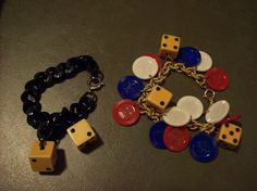 SALE 2 Vintage Handmade Lucky Gambling Bracelets Dice and Poker Chips Was 18.00