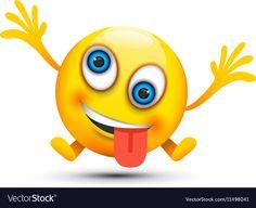Crazy emoji character vector image on VectorStock Smiley Face Images, Animated Smiley Faces, Emoji Pictures, Emoji Images, Funny Emoji, Cute Emoji, Smileys, Emoticon, Emoji Craft