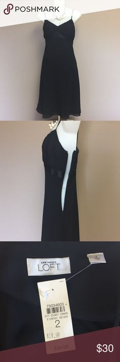 "🆕 Ann Taylor LOFT black silk dress size 2 This classy dress is 100% silk on the top and 100%  polyester on bottom and is lined with 100% polyester , has spaghetti straps and 11""  side hidden zipper and  a flirty flare Hemline. Approximate measurements laying flat bust: 16"" Length 31"" waist 15"". Very cute dress Ann Taylor Loft Dresses"