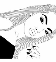 Dessin de fille noir et blanc Tumblr Girl Drawing, Tumblr Sketches, Tumblr Drawings, Girly Drawings, Outline Drawings, Drawing Sketches, Girl Outlines, Tumblr Outline, Videos Kawaii