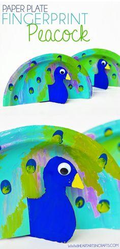 Paper plate fingerprint peacock craft!