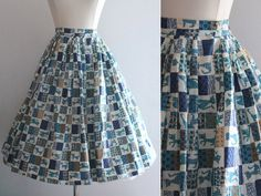 1950s Cat Skirt / Vintage 50s Blue White Novelty Print Circle Skirt by SavvySpinsterVintage